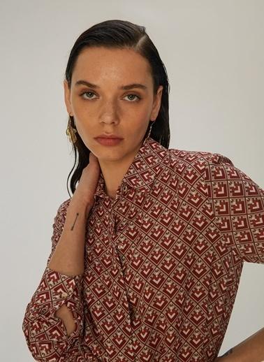 NGSTYLE Geometrik Desenli Gömlek Elbise Bordo